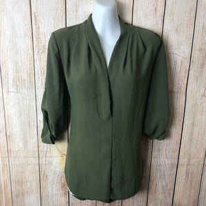 Olive Green V-Line Top Blouse Adjustable Size: M